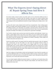 What The Experts Aren't Saying About AC Repair Spring Texas And How It Affects You.doc